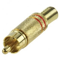 RCA connector verguld - rood