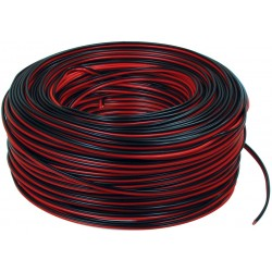 Luidsprekerkabel 2 x 0,75 mm² op rol 100 m zwart / rood